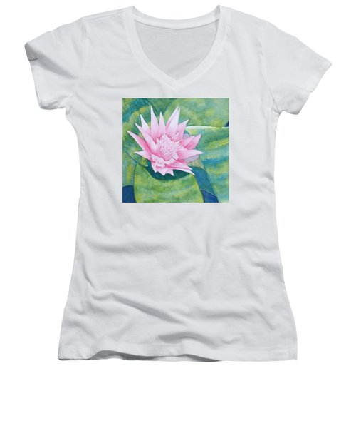 Pink Bromiliad Women's V-Neck (Athletic Fit)