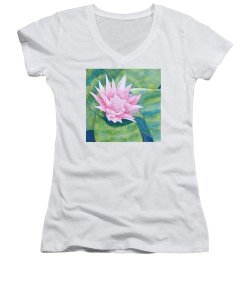 Pink Bromiliad Women's V-Neck T-Shirt