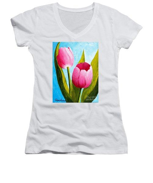 Pink Bubblegum Tulip II Women's V-Neck