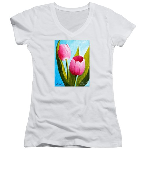 Pink Bubblegum Tulip II Women's V-Neck (Athletic Fit)