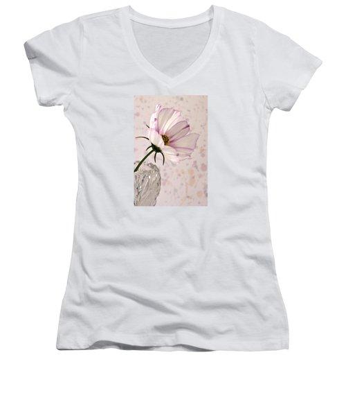 Pink Cosmo - Digital Oil Art Work Women's V-Neck T-Shirt (Junior Cut) by Sandra Foster