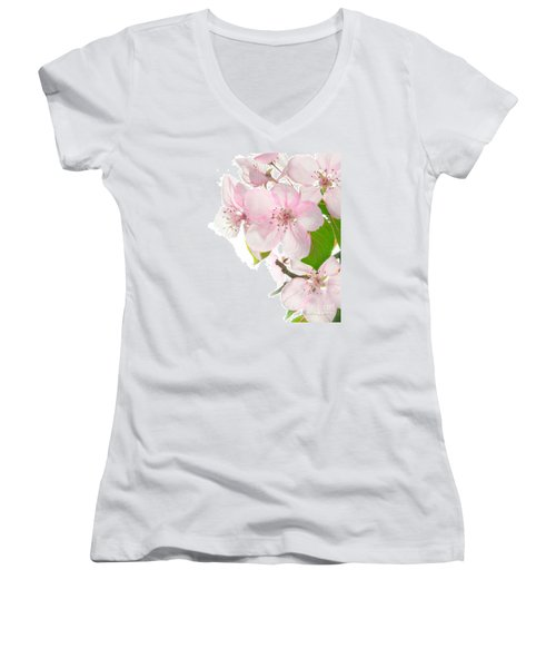 Pink Crabapple Blissoms Women's V-Neck T-Shirt (Junior Cut) by David Perry Lawrence