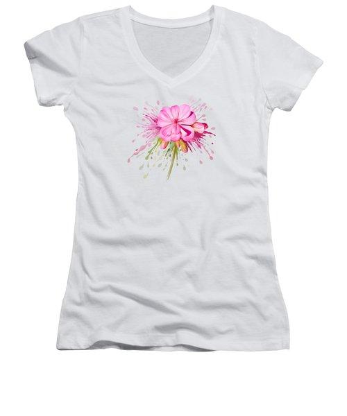 Pink Eruption Women's V-Neck T-Shirt (Junior Cut) by Ivana Westin