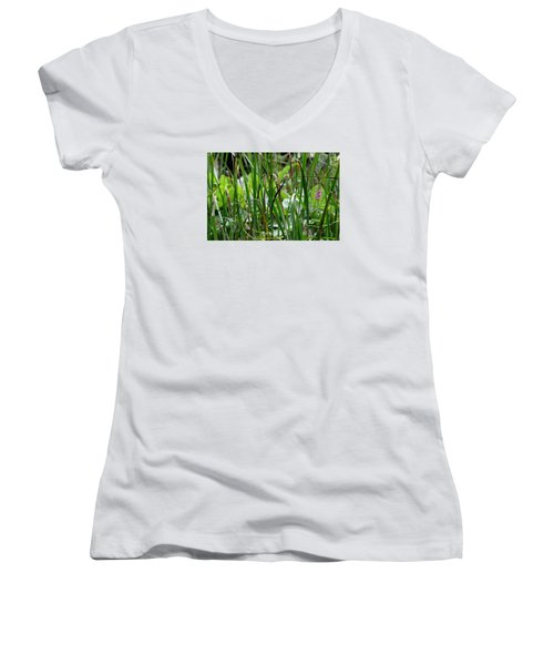 Pink Flower In The Grass Women's V-Neck (Athletic Fit)