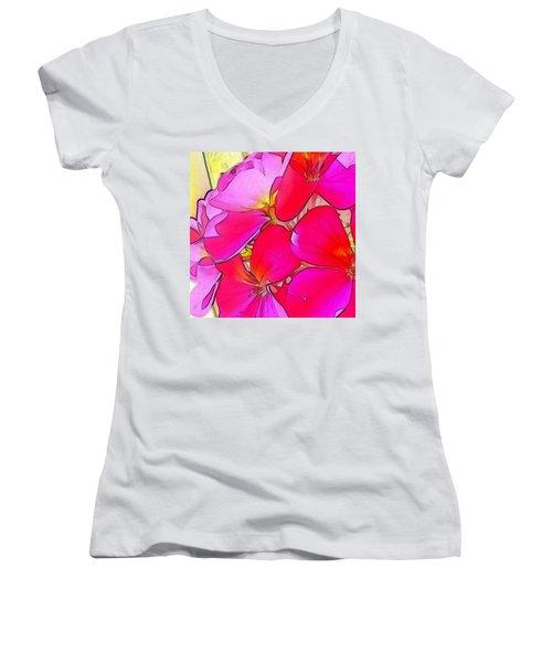 Pink Flower Women's V-Neck (Athletic Fit)
