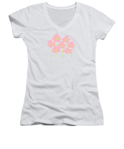 Pink Flowers #1 Women's V-Neck (Athletic Fit)