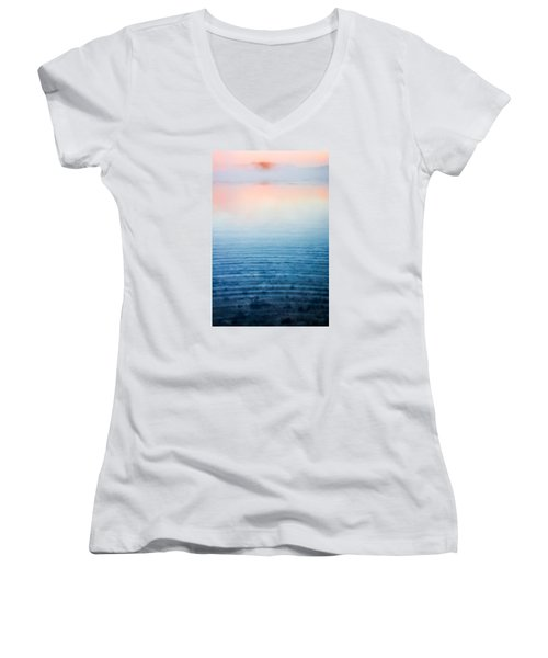 Pink Fog At Sunrise Women's V-Neck T-Shirt (Junior Cut) by Shelby  Young