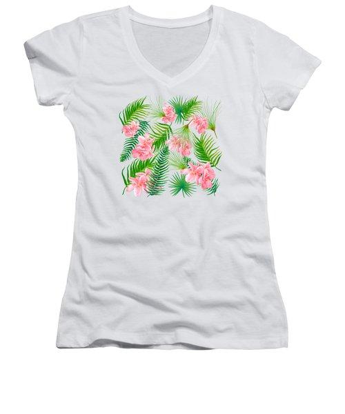 Pink Frangipani And Fern Leaves Women's V-Neck T-Shirt (Junior Cut) by Jan Matson