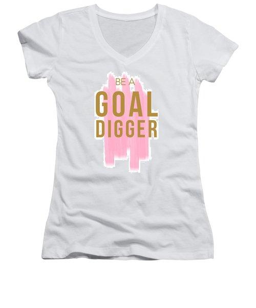Pink Goal Digger Women's V-Neck T-Shirt (Junior Cut) by Elizabeth Taylor