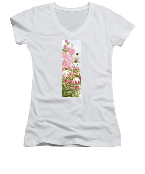 Pink Hollyhock And White Coneflowers Women's V-Neck