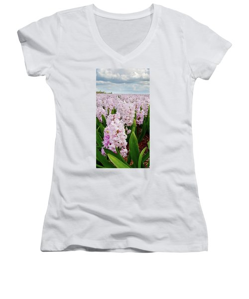 Pink Hyacinth  Women's V-Neck T-Shirt (Junior Cut) by Mihaela Pater