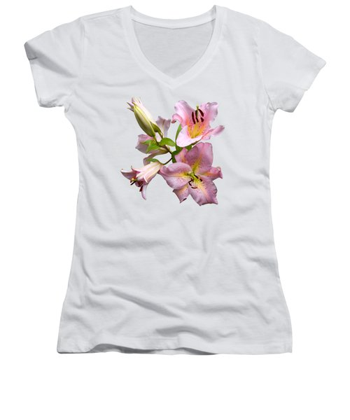 Pink Lilies On Cream Women's V-Neck T-Shirt (Junior Cut) by Jane McIlroy