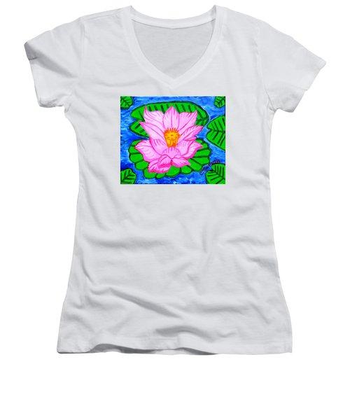 Pink Lotus Flower Women's V-Neck