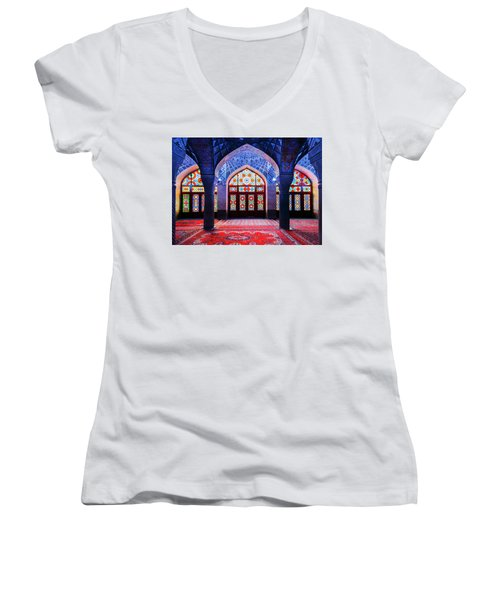 Pink Mosque, Iran Women's V-Neck