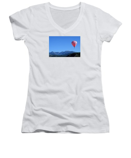 Women's V-Neck T-Shirt (Junior Cut) featuring the photograph Pink On Blue by Kevin Munro