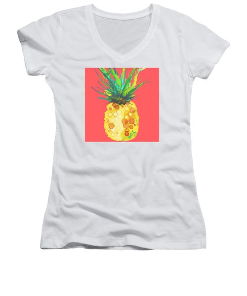 Pink Pineapple Daquari Women's V-Neck T-Shirt (Junior Cut) by Marla Beyer