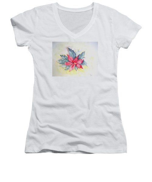 Pink Poinsetta On Blue Foliage Women's V-Neck