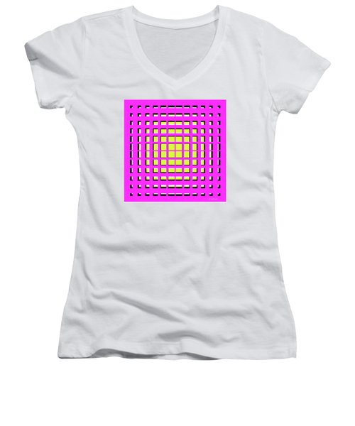 Pink Polynomial Women's V-Neck T-Shirt