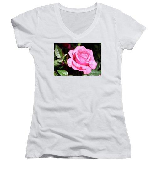 Pink Rose Women's V-Neck T-Shirt (Junior Cut) by Ronda Ryan