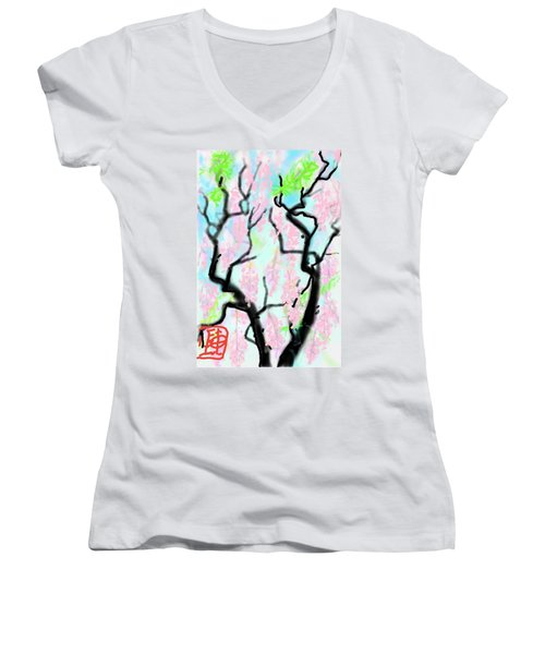 Pink Wisteria Women's V-Neck T-Shirt