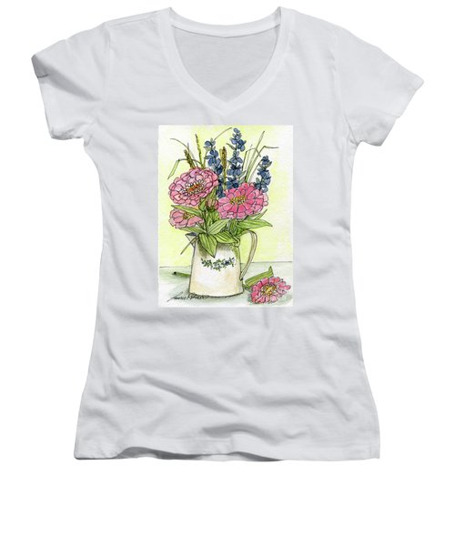 Pink Zinneas Women's V-Neck
