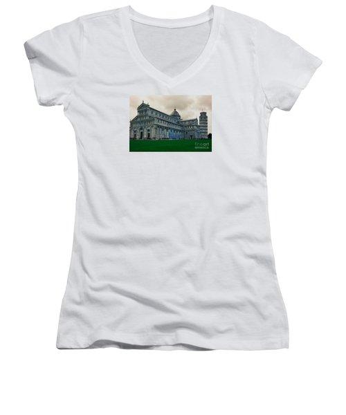 Pisa Women's V-Neck T-Shirt (Junior Cut) by Ramona Matei