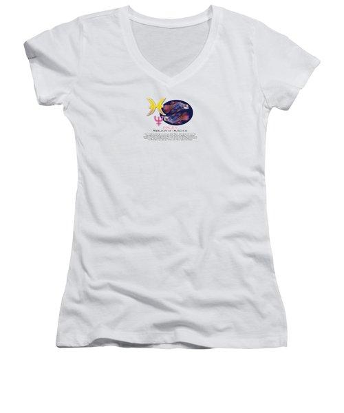 Pisces Sun Sign Women's V-Neck T-Shirt (Junior Cut) by Shelley Overton