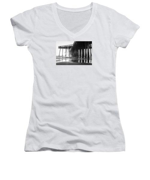 Pismo Pier Black And White Sunset Women's V-Neck