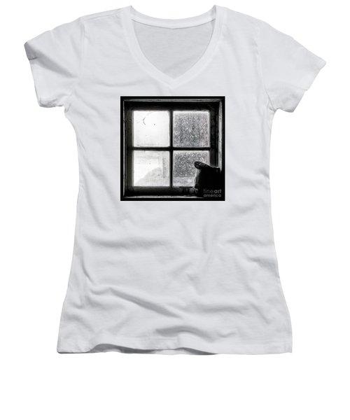 Women's V-Neck T-Shirt (Junior Cut) featuring the photograph Pitcher In The Window by Brad Allen Fine Art