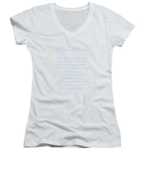 Pitter Patter Poem Typography Women's V-Neck (Athletic Fit)