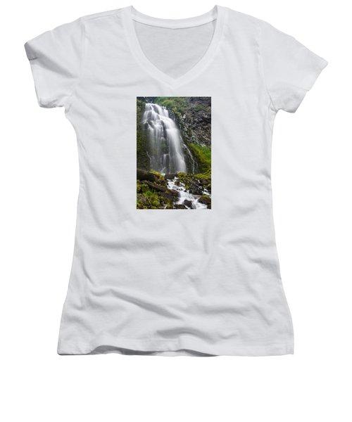 Plaikni Falls Women's V-Neck T-Shirt (Junior Cut) by Greg Nyquist