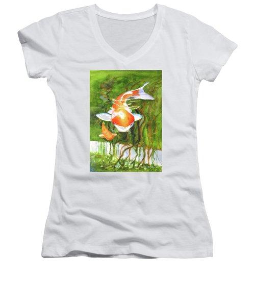 Play Koi With Me Women's V-Neck T-Shirt (Junior Cut) by Bonnie Rinier