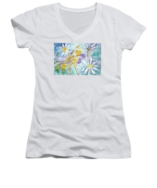 Women's V-Neck T-Shirt (Junior Cut) featuring the painting Playfulness by Jasna Dragun