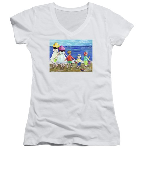 Playing At The Seashore Women's V-Neck (Athletic Fit)
