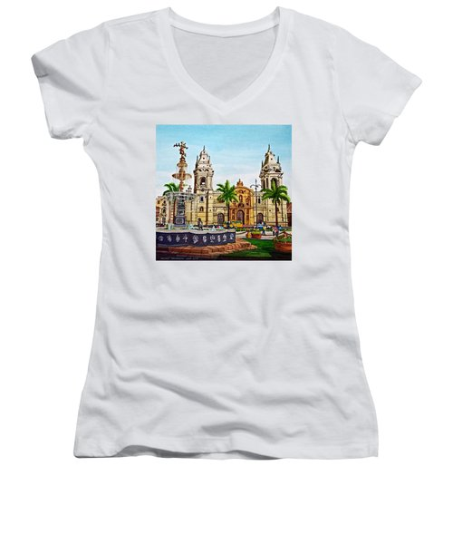 Plaza Armas, Cusco, Peru Women's V-Neck T-Shirt