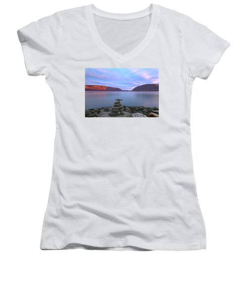Plum  Point Rock Cairn At Sunset Women's V-Neck T-Shirt (Junior Cut) by Angelo Marcialis