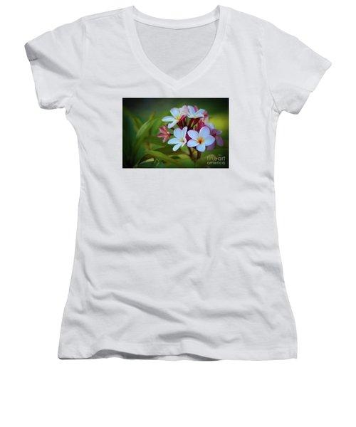 Plumeria Sunset Women's V-Neck T-Shirt (Junior Cut) by Kelly Wade