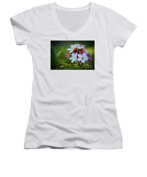 Plumeria Sunset Women's V-Neck T-Shirt