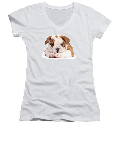 Po-faced Bulldog Women's V-Neck (Athletic Fit)