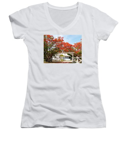 Poinciana Cottage Women's V-Neck T-Shirt (Junior Cut) by Amar Sheow