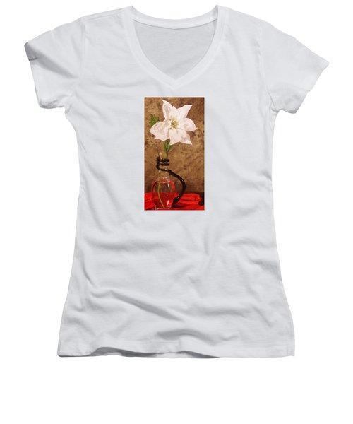 Poinsettia In Pitcher  Women's V-Neck