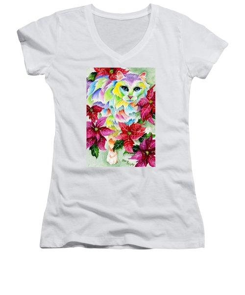 Poinsettia Sweetheart Women's V-Neck