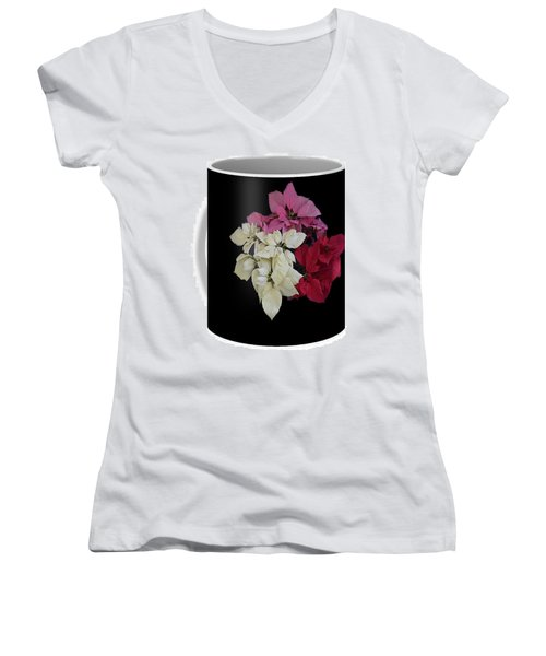 Poinsettia Tricolor Mug  Women's V-Neck T-Shirt (Junior Cut) by R  Allen Swezey