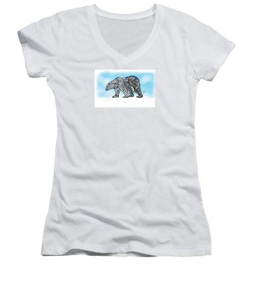 Polar Bear Doodle Women's V-Neck (Athletic Fit)