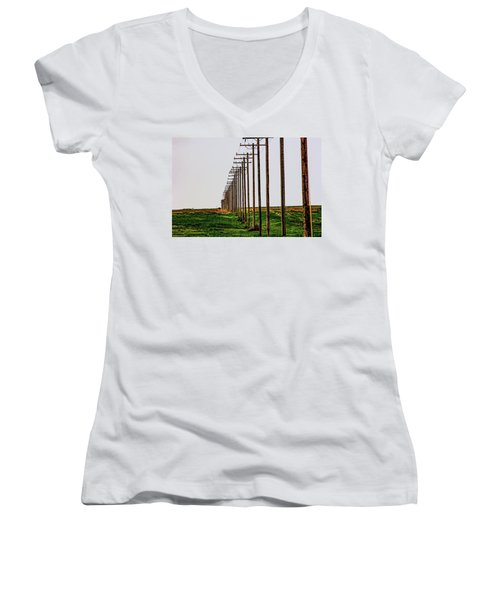 Poles In A Row Women's V-Neck (Athletic Fit)