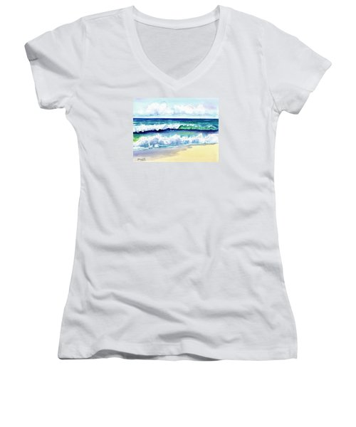 Women's V-Neck T-Shirt (Junior Cut) featuring the painting Polhale Waves 3 by Marionette Taboniar