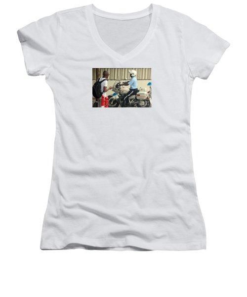 Police Escort Africa Women's V-Neck T-Shirt (Junior Cut) by John Potts