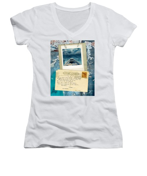 Poloroid Of Boat With Inspirational Quote Women's V-Neck T-Shirt