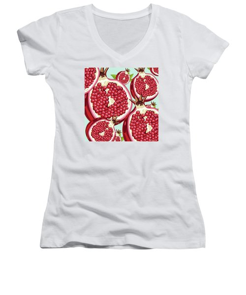 Pomegranate   Women's V-Neck T-Shirt (Junior Cut) by Mark Ashkenazi