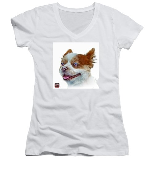 Pomeranian Dog Art 4584 - Wb Women's V-Neck